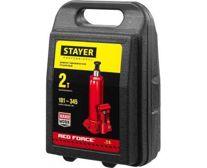 STAYER RED FORCE 2т 181-345мм домкрат бутылочный гидравлический в кейсе
