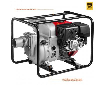 Мотопомпа бензиновая, ЗУБР МПГ-1800-100, для грязной воды, 1800 л/мин (108 м3/ч), патрубки 100 мм, напор 30 м, всасывание 8 м