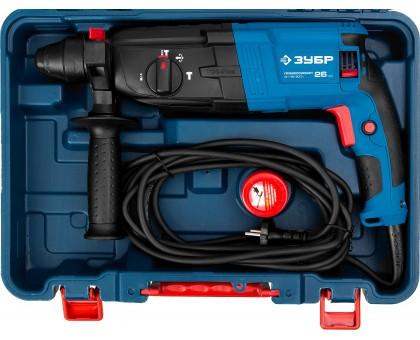 Перфоратор SDS-plus, ЗУБР Профессионал ЗП-26-800 К, реверс, горизонтальный, 3 Дж, 0-1200 об/мин, 0-4800 уд/мин, 800 Вт, кейс