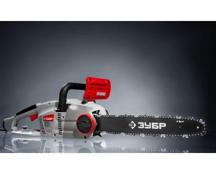 Пила цепная (электропила), ЗУБР ЗЦП-2000-02, продольный двиг-ль, защита руки (тормоз цепи), масляный бачок, смена цепи без ключа, шина 40 см, 2000 Вт