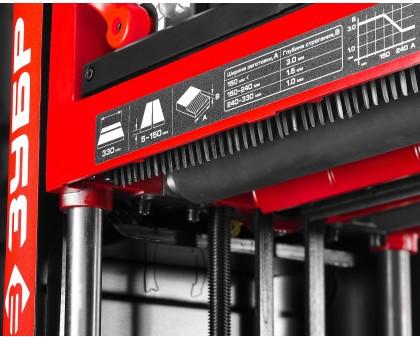 Рейсмусовый станок, ЗУБР СР-330-1800, ширина строгания 330мм, толщина заготовки до 150мм, 2 ножа, 9000 об/мин, 1800Вт, 2 скорости подачи: 4 и 6м/мин