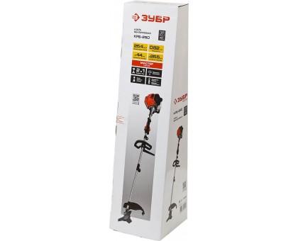 Триммер бензиновый (бензокоса), ЗУБР КРБ-250, 25,4см3 (0.82 л.с./0,6 кВт), 8500об/мин, катушка/нож, шир. скашивания 44/25,5см