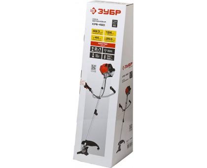 Триммер бензиновый (бензокоса), ЗУБР КРБ-490, 49,3 см3(1,84л.с./1,35кВт), 10000об/мин, катушка/нож, шир. скашивания 44/25,5см, велос.рукоятка
